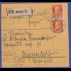 Bayern Ludwig III. Mi.-Nr. 99IIa als MEF auf Paketkarte München-Deggendorf