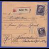 Bayern Ludwig III: Ausgabe Paketkarte mit MIF gel. von Neufahrn nach Nürnberg