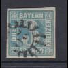 Altdeutschland Bayern 3 Kreuzer blau Mi-Nr. 2 II mit Mühlradstempel 20