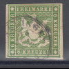 Altdeutschland Württemberg 6 Kreuzer grünoliv Mi.-Nr. 13a gestempelt