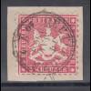 Altdeutschland Württemberg 3 Kreuzer karminrot Mi.-Nr. 26 auf Briefstück