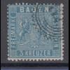 Altdeutschland Baden 3 Kreuzer blau Mi.-Nr. 10a mit Zackenkranz-Stempel