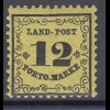 Altdeutschland Baden Portomarke 12 Kr. Mi.-Nr. 3x postfrisch **