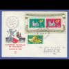 Schweiz 1955 Lausanne-Block Mi.-Nr. Block 15 auf Brief nach New York / USA