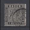 Altdeutschland Baden 1 Kreuzer schwarz Mi.-Nr. 9 gestempelt