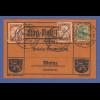 Dt. Reich Flugpost am Rhein und Main Karte mit 2x Gelber Hund, Darmstadt 18.6.12