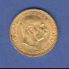 Goldmünze Österreich Franz Joseph, 10 Kronen. 3,39g 900er Gold.
