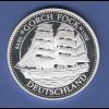 Segelschiff Gorch Fock, edle grosse Silbermedaille PP / mattiert