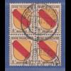 Französische Zone Wappen Mi.-Nr. 4 Viererblock gestempelt ROCKENHAUSEN