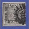 Altdeutschland Bayern Schwarzer Einser mit PLF XIV gestempelt