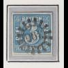 Bayern, 3 Kreuzer blau Mi.-Nr 2 II Platte 2 gestempelt mit GMR 396