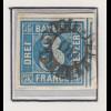 Bayern, 3 Kreuzer blau Mi.-Nr 2 II Platte 2 gestempelt mit GMR 69