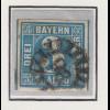 Bayern, 3 Kreuzer blau Mi.-Nr 2 II Platte 2 gestempelt mit GMR 98