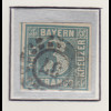 Bayern, 3 Kreuzer blau Mi.-Nr 2 II Platte 3 gestempelt mit OMR 37 Bayreuth