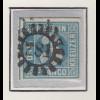 Bayern, 3 Kreuzer blau Mi.-Nr 2 II Platte 3 gestempelt mit GMR 281