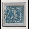 Bayern, 3 Kreuzer blau Mi.-Nr 2 II Platte 3 gestempelt mit OMR 356 Nürnberg