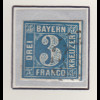 Bayern, 3 Kreuzer blau Mi.-Nr 2 II Platte 3 fast zifferfrei gestempelt mit OMR
