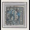 Bayern 3 Kreuzer blau Mi.-Nr 2 II Platte 5 gestempelt mit OMR 291 Ludwigshafen