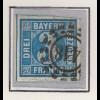 Bayern 3 Kreuzer blau Mi.-Nr 2 II Platte 5 gest. mit GMR 145