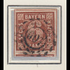 Bayern 6 Kreuzer braun Mi.-Nr. 4 II Platte 3 gestempelt mit OMR 607 Castell