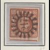 Bayern 6 Kreuzer braun Mi.-Nr. 4 II Platte 1 gestempelt mit GMR 217