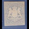 Bayern 1867 Wappenausgabe geschnitten 6 Kreuzer blau Mi.-Nr. 16 sauber * gep.BPP
