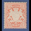 Bayern 1876 2 Mark Wappen orange , Wz 2 , Mi.-Nr. 44a postfrisch **