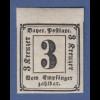 Bayern 1862 Portomarke 3 Kreuzer Ziffer im Rechteck sauber ungebraucht *