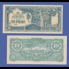Banknote Malaya japanische Besetzung 1942-44, 10 Dollar in guter Erhaltung !