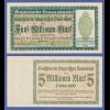 Banknote Bayern 1923, 5 Millionen Mark in guter, kassenfrischer Erhaltung !