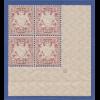 Bayern Wappen 2 Mark bräunlichlila, unverausgabte Mi.-Nr. I Eckrand-VB mit Pl-Nr