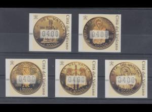 Vatikan ATM 2.Ausgabe 2001, Goldmünzen. Mi.-Nr. 6-10 je mit Wert 400 **