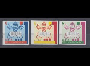 Vatikan ATM 4.Ausgabe 2004, päpstliches Wappen, Mi.-Nr. 15-17 je Wert 0,45 € **