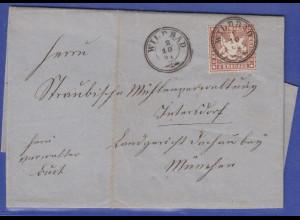 Württemberg 1864 Mi.-Nr. 28a als EF auf Brief von Wildbad nach München
