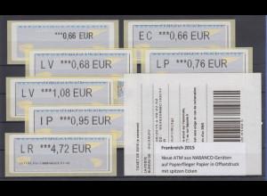 Frankreich ATM 2015 aus NABANCO-Geräten, Papierflieger Odr., Satz 7 Werte **