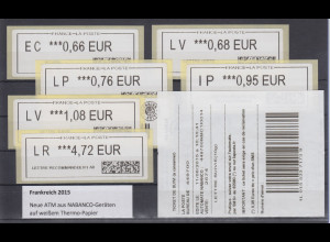 Frankreich ATM 2015 aus NABANCO-Geräten, weißes Papier, Satz 6 Werte **