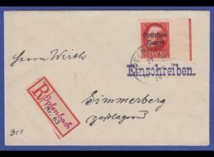 Bayern Mi.-Nr. 130 II B Randstück auf R-Brief gel. von Opfenbach n. Simmerberg