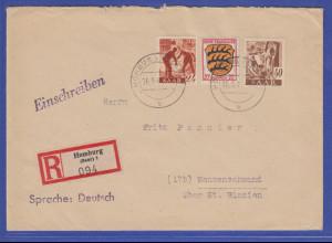 Saarland 1947 R-Brief gelaufen von Homburg (Saar) n. Menzenschwand St. Blasien