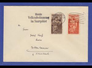 Saargebiet Mi.-Nr. 199 und 200 auf Brief mit Stempel Volksabstimmung 13.1.1935
