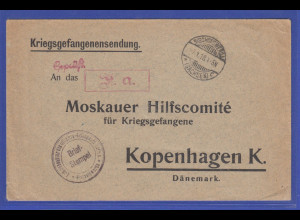 1918 Kriegsgefangenen-Sendung an Moskauer Hilfskomité Kopenhagen, Bischofswerda