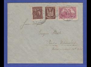 Dt. Reich Infla Flugpostmarke Mi.-Nr. 210 in MIF auf Brief Stuttgart -> Berlin