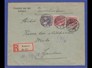 Dt. Reich Infla R-Brief von Bremen nach Spandau mit Germania-Frankatur