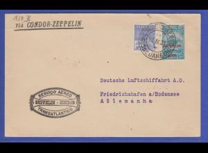 """Brasilien schöner Zeppelin-Brief """"VIA CONDOR ZEPPELIN"""" 1931 gel. -> Deutschland"""
