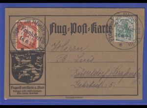"""Flugpost am Rhein u. am Main"" Karte mit Mi.-Nr. II aufg. in Frankfurt 16.6.1912"