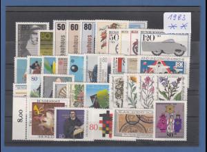 Bundesrepublik: alle Briefmarken des Jahrgangs 1983 komplett postfrisch !