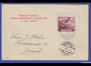 Liechtensten 1. Postflug Vaduz-Innsbruck 1.7.1935 mit Eckrandstück Mi.-Nr. 148