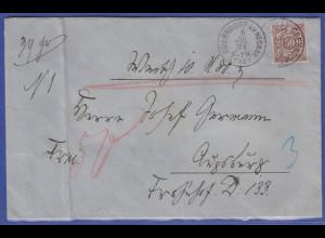 Württemberg Wert-Brief gelaufen 1894 von Oberndorf nach Augsburg, Mi.-Nr. 59 EF