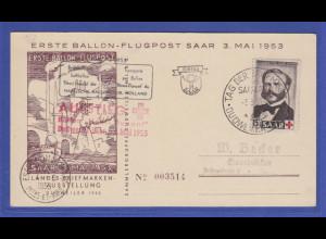 "Saarland 1953 3. Mai erste Saar Ballon-Flugpost ""Henri Dunant"" Dudweiler FDC"
