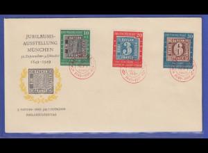 Bund 1949, Mi.-Nr. 113-115 100 Jahre Deutsche Briefmarken auf FDC mit rotem O