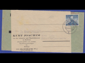 Bund 1952, Mi.-Nr. 150 Otto-Motor als EF auf Auslandsbrief nach Australien